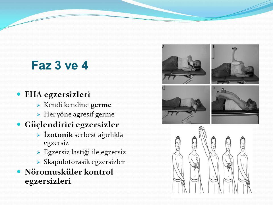 Faz 3 ve 4 EHA egzersizleri Güçlendirici egzersizler