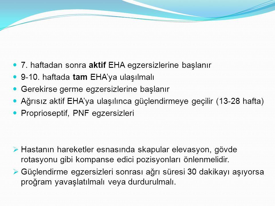7. haftadan sonra aktif EHA egzersizlerine başlanır