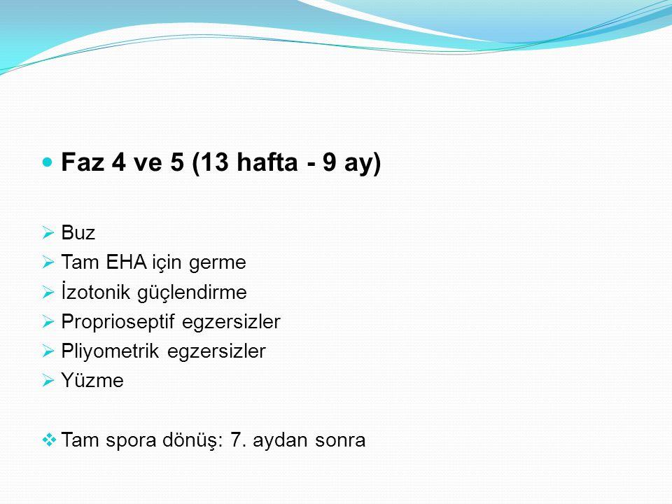 Faz 4 ve 5 (13 hafta - 9 ay) Buz Tam EHA için germe