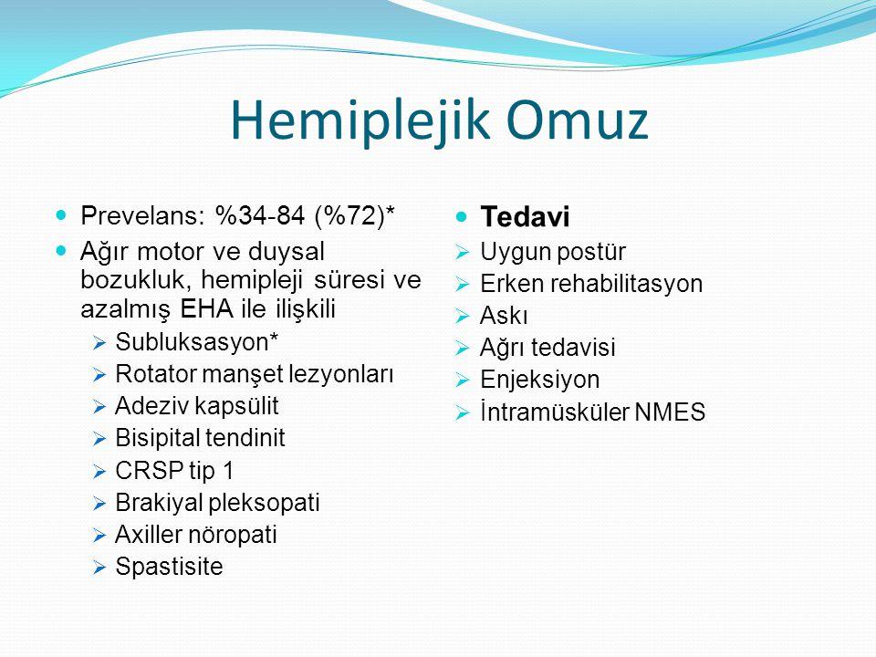 Hemiplejik Omuz Tedavi Prevelans: %34-84 (%72)*
