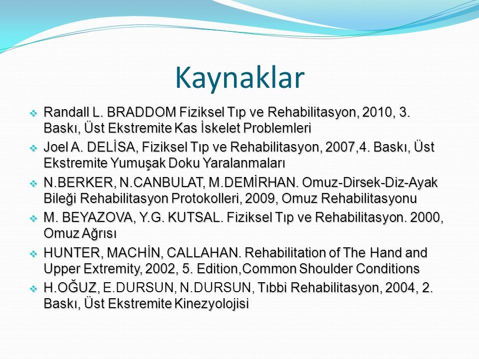 Kaynaklar Randall L. BRADDOM Fiziksel Tıp ve Rehabilitasyon, 2010, 3. Baskı, Üst Ekstremite Kas İskelet Problemleri.