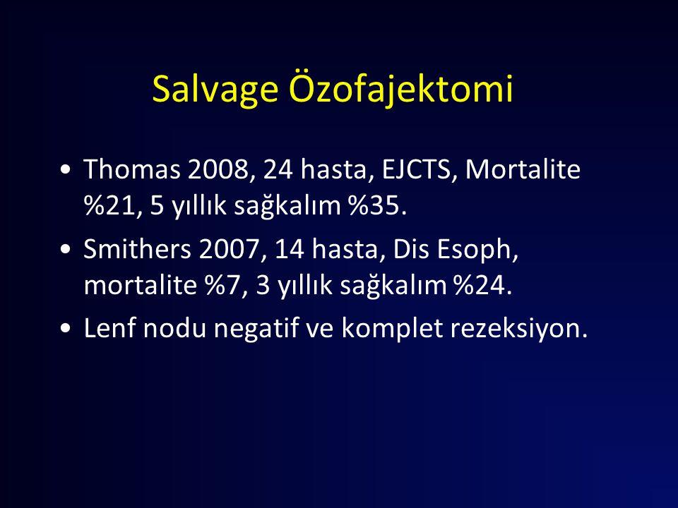 Salvage Özofajektomi Thomas 2008, 24 hasta, EJCTS, Mortalite %21, 5 yıllık sağkalım %35.