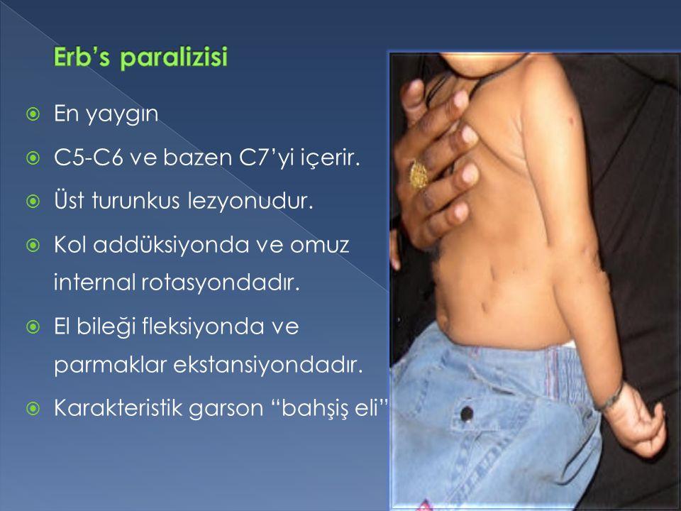 Erb's paralizisi En yaygın C5-C6 ve bazen C7'yi içerir.