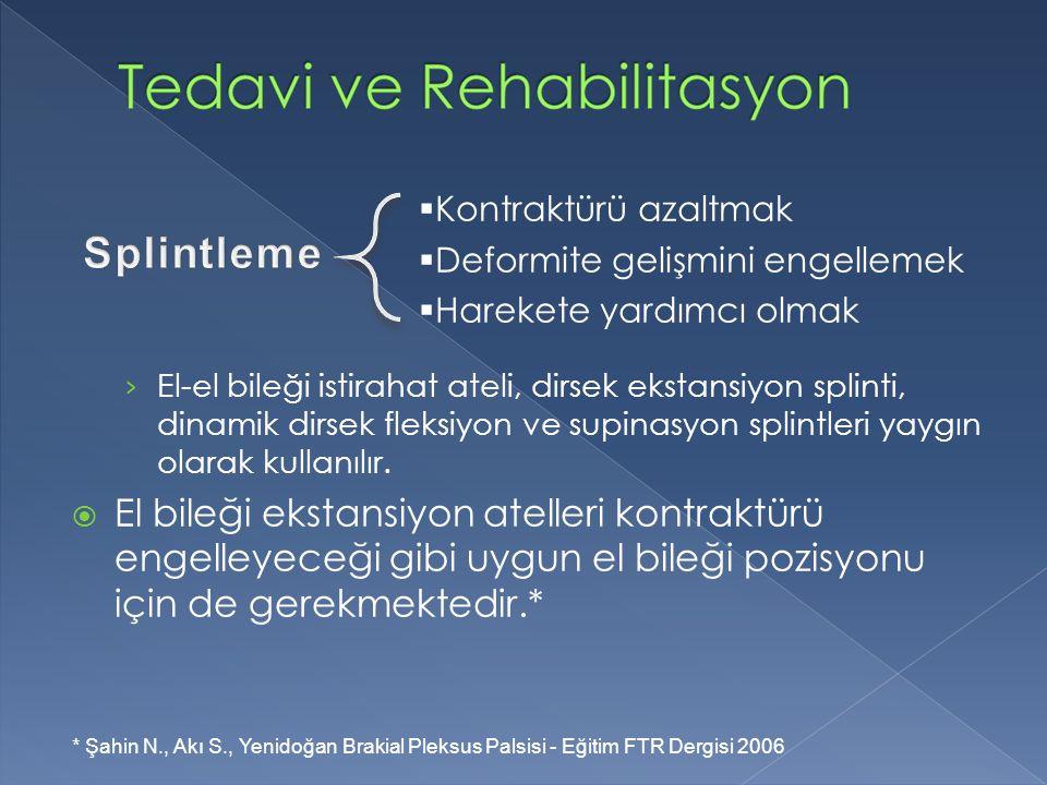 Kontraktürü azaltmak Deformite gelişmini engellemek. Harekete yardımcı olmak. Splintleme.