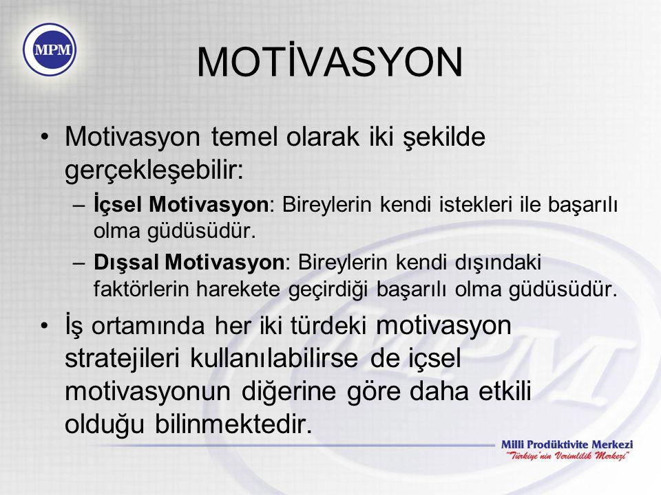 MOTİVASYON Motivasyon temel olarak iki şekilde gerçekleşebilir: