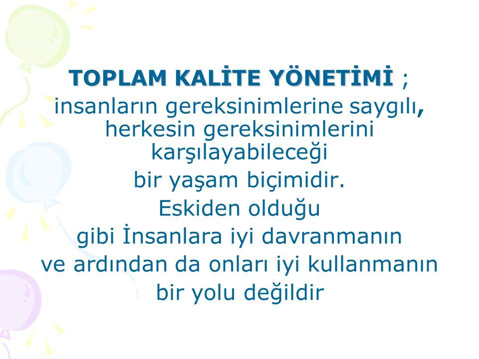 TOPLAM KALİTE YÖNETİMİ ;
