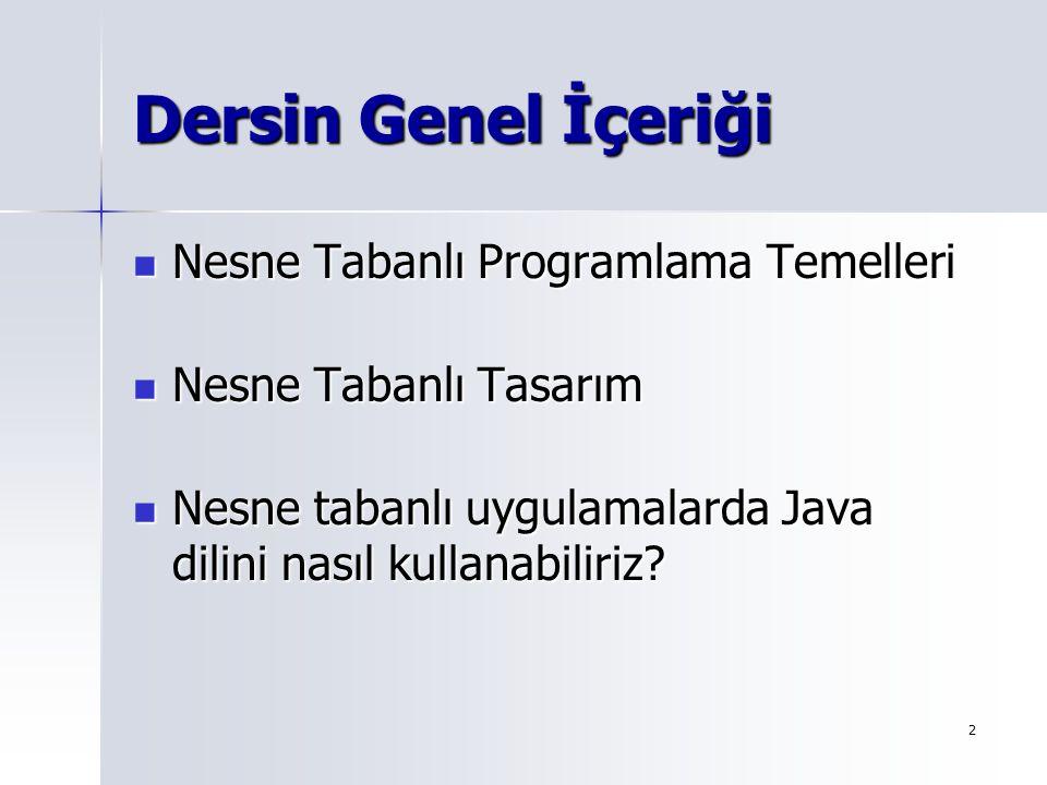 Dersin Genel İçeriği Nesne Tabanlı Programlama Temelleri
