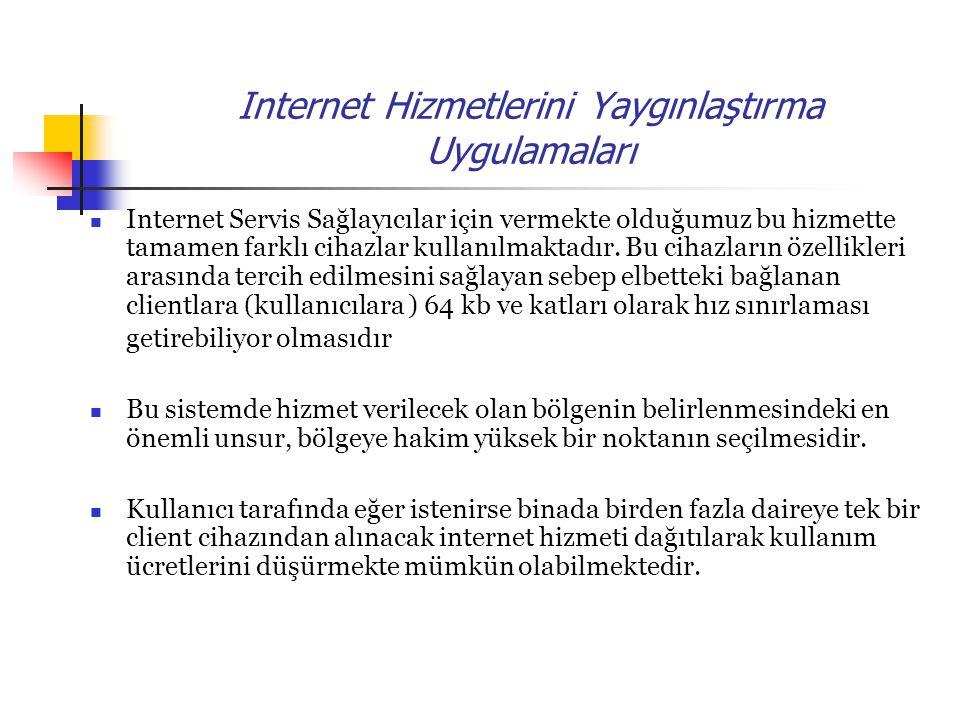 Internet Hizmetlerini Yaygınlaştırma Uygulamaları