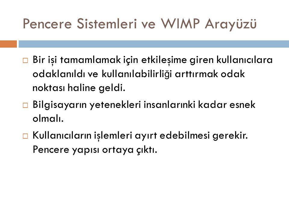 Pencere Sistemleri ve WIMP Arayüzü