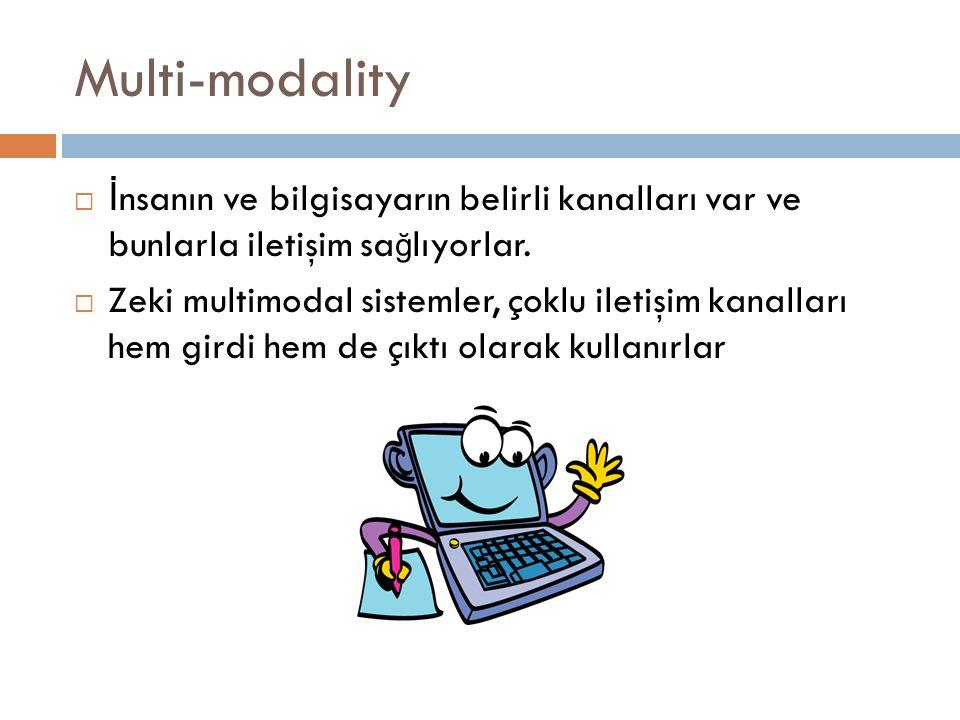 Multi-modality İnsanın ve bilgisayarın belirli kanalları var ve bunlarla iletişim sağlıyorlar.