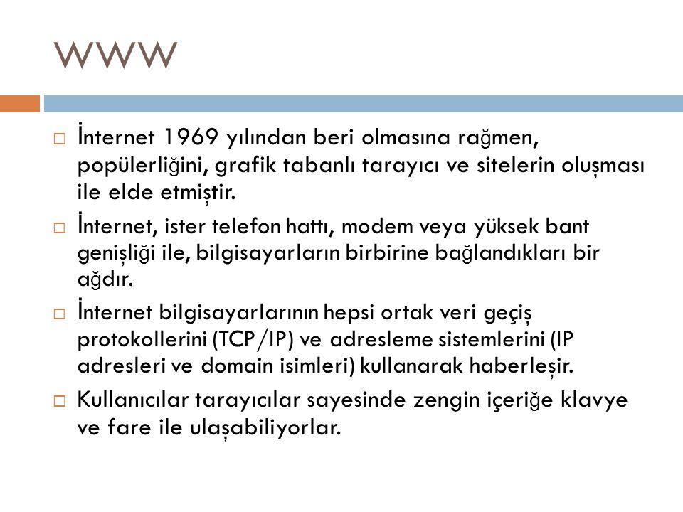 WWW İnternet 1969 yılından beri olmasına rağmen, popülerliğini, grafik tabanlı tarayıcı ve sitelerin oluşması ile elde etmiştir.