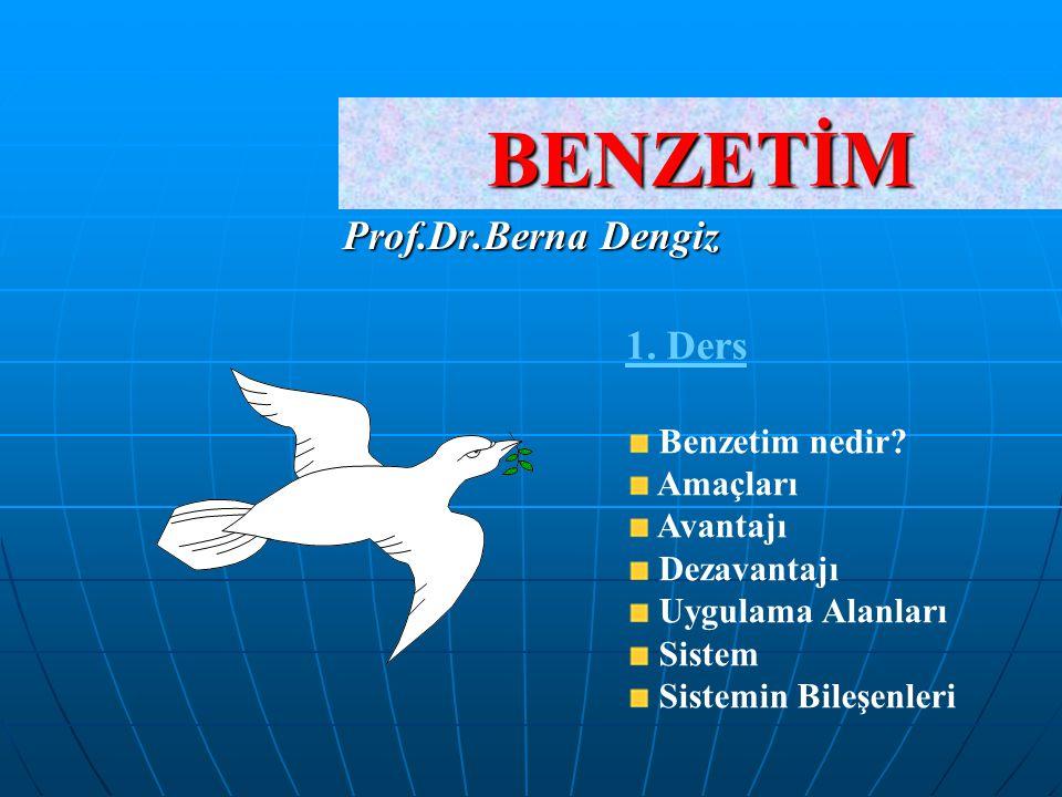 BENZETİM Prof.Dr.Berna Dengiz 1. Ders Benzetim nedir Amaçları