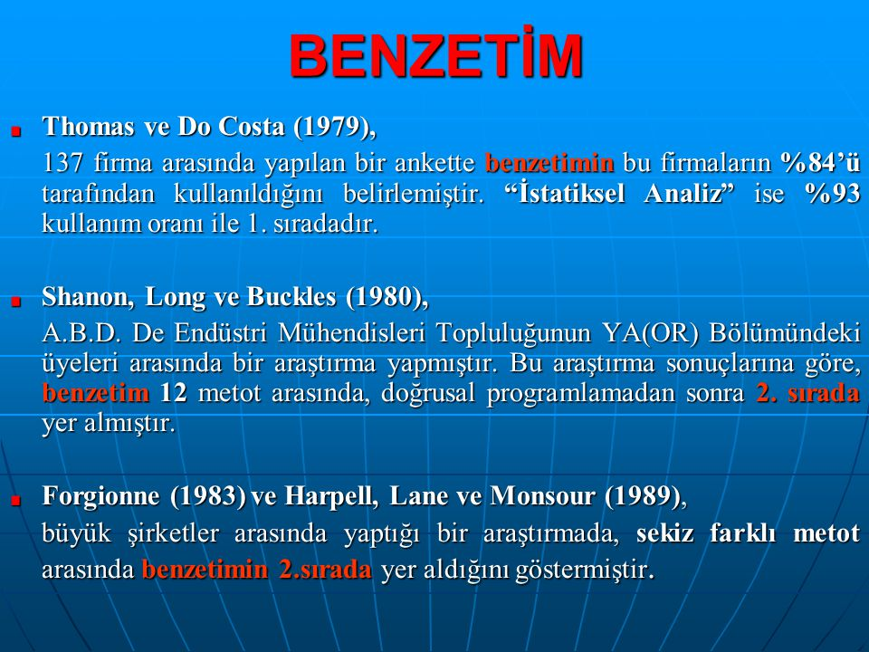 BENZETİM Thomas ve Do Costa (1979),