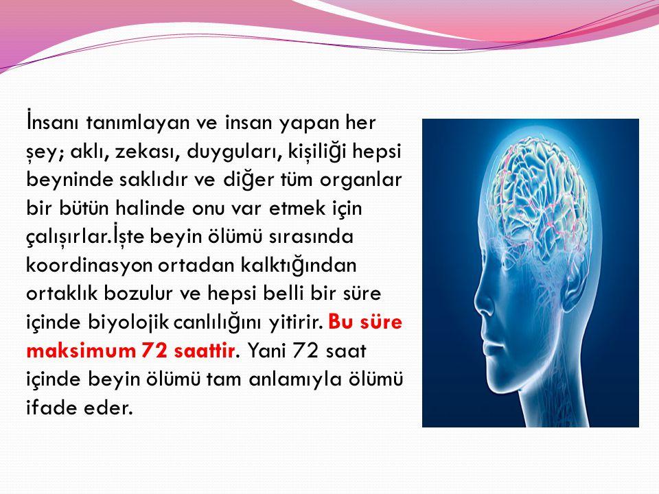 İnsanı tanımlayan ve insan yapan her şey; aklı, zekası, duyguları, kişiliği hepsi beyninde saklıdır ve diğer tüm organlar bir bütün halinde onu var etmek için çalışırlar.İşte beyin ölümü sırasında koordinasyon ortadan kalktığından ortaklık bozulur ve hepsi belli bir süre içinde biyolojik canlılığını yitirir.
