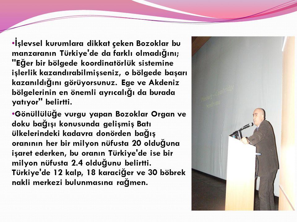 İşlevsel kurumlara dikkat çeken Bozoklar bu manzaranın Türkiye de da farklı olmadığını; Eğer bir bölgede koordinatörlük sistemine işlerlik kazandırabilmişseniz, o bölgede başarı kazanıldığını görüyorsunuz. Ege ve Akdeniz bölgelerinin en önemli ayrıcalığı da burada yatıyor belirtti.