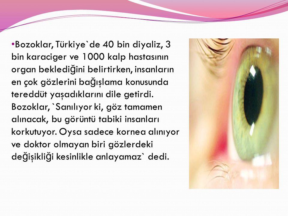 Bozoklar, Türkiye`de 40 bin diyaliz, 3 bin karaciger ve 1000 kalp hastasının organ beklediğini belirtirken, insanların en çok gözlerini bağışlama konusunda tereddüt yaşadıklarını dile getirdi.