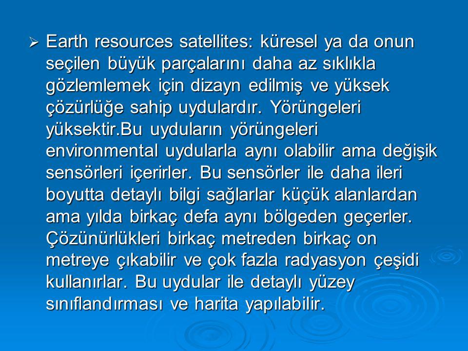 Earth resources satellites: küresel ya da onun seçilen büyük parçalarını daha az sıklıkla gözlemlemek için dizayn edilmiş ve yüksek çözürlüğe sahip uydulardır.