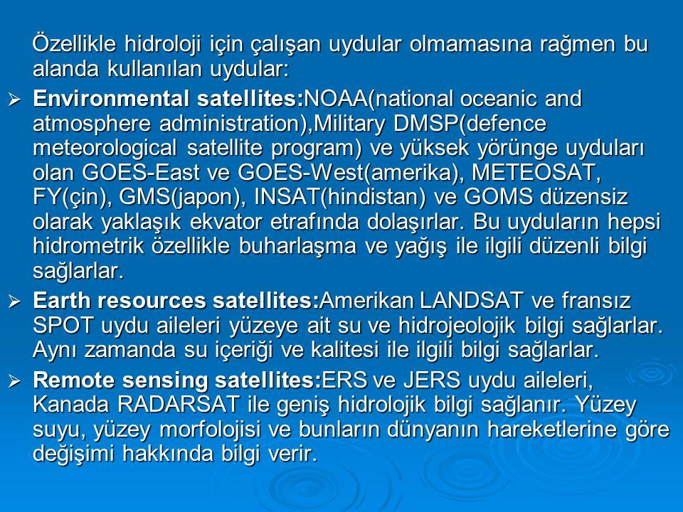 Özellikle hidroloji için çalışan uydular olmamasına rağmen bu alanda kullanılan uydular: