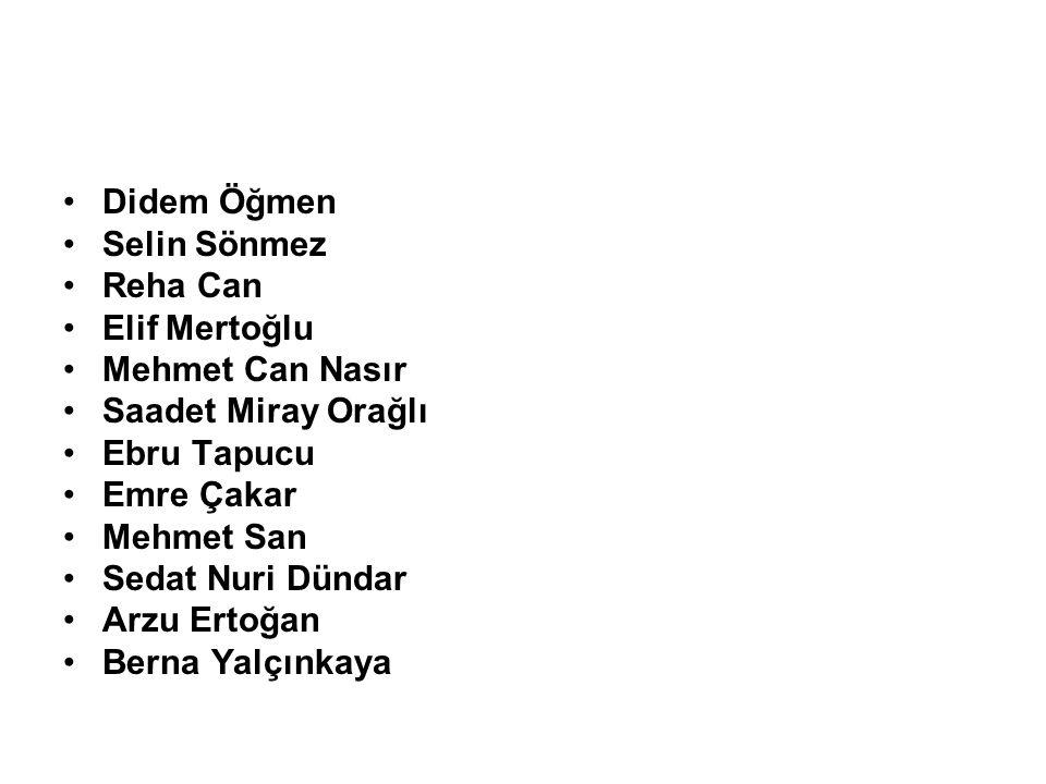 Didem Öğmen Selin Sönmez. Reha Can. Elif Mertoğlu. Mehmet Can Nasır. Saadet Miray Orağlı. Ebru Tapucu.