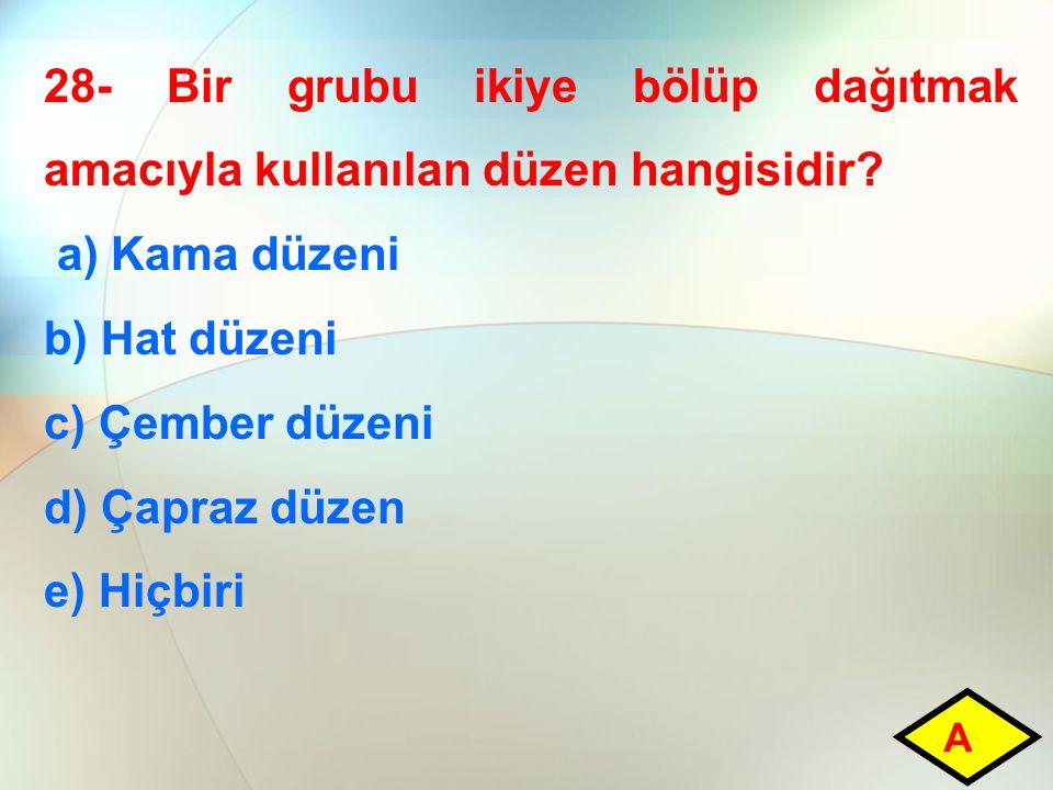 28- Bir grubu ikiye bölüp dağıtmak amacıyla kullanılan düzen hangisidir