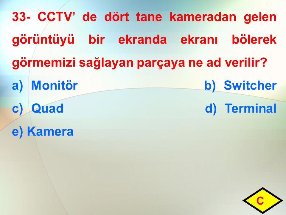 a) Monitör b) Switcher c) Quad d) Terminal e) Kamera