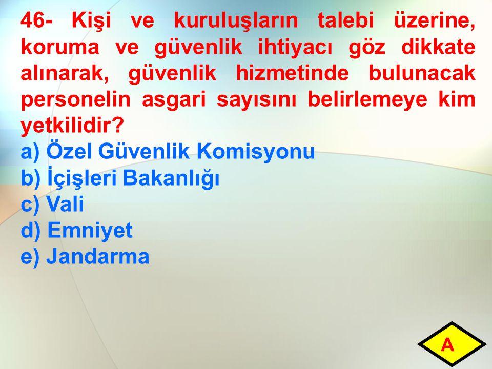 a) Özel Güvenlik Komisyonu b) İçişleri Bakanlığı c) Vali d) Emniyet