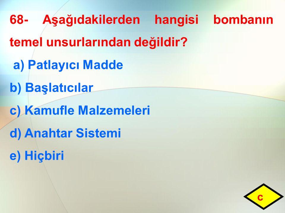 68- Aşağıdakilerden hangisi bombanın temel unsurlarından değildir
