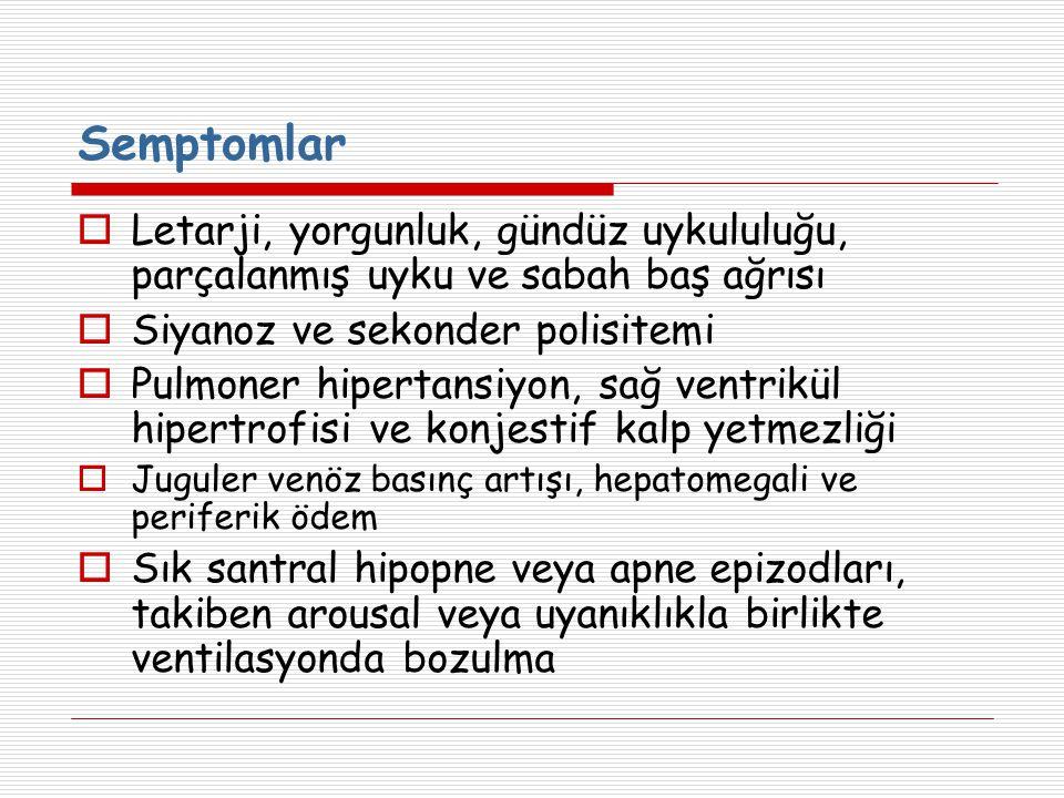 Semptomlar Letarji, yorgunluk, gündüz uykululuğu, parçalanmış uyku ve sabah baş ağrısı. Siyanoz ve sekonder polisitemi.