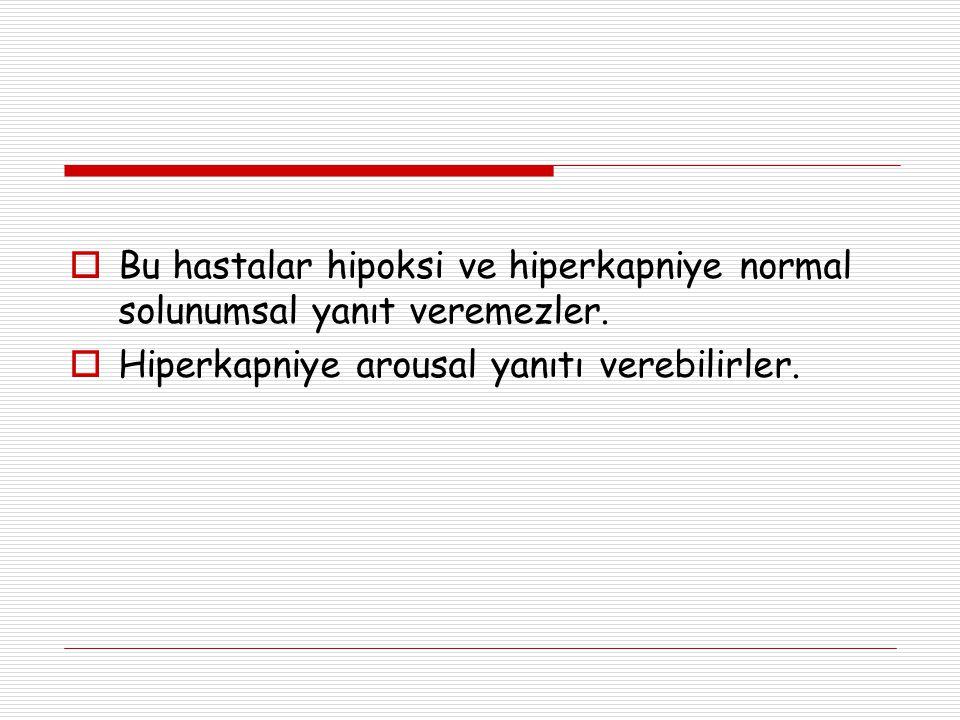 Bu hastalar hipoksi ve hiperkapniye normal solunumsal yanıt veremezler.