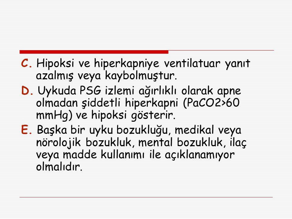 C. Hipoksi ve hiperkapniye ventilatuar yanıt azalmış veya kaybolmuştur.