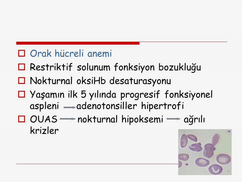 Orak hücreli anemi Restriktif solunum fonksiyon bozukluğu. Nokturnal oksiHb desaturasyonu.
