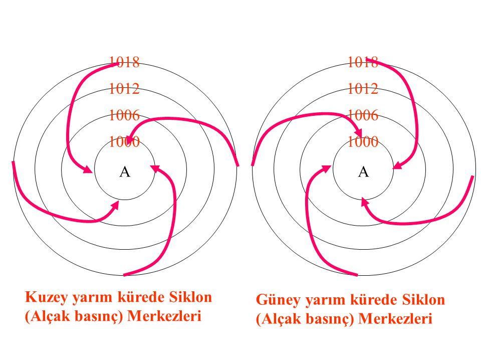 A 1000. 1006. 1012. 1018. A. 1000. 1006. 1012. 1018. Kuzey yarım kürede Siklon (Alçak basınç) Merkezleri.