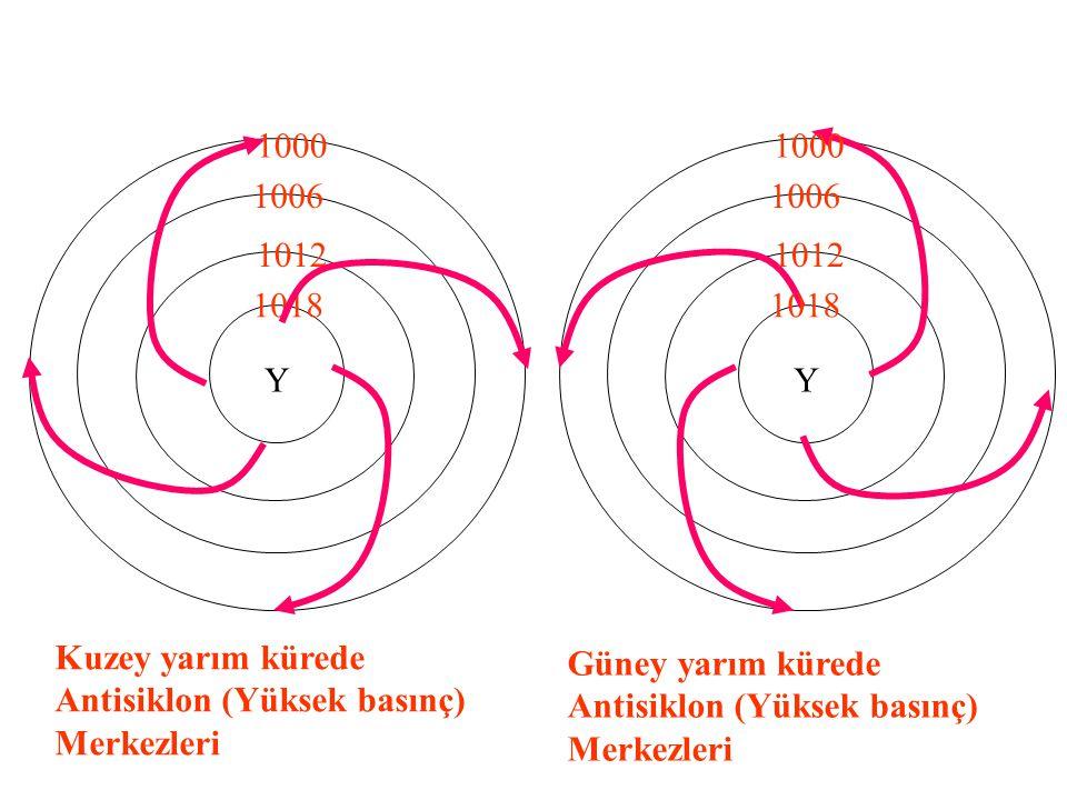 1000 1000. 1006. 1006. 1012. 1012. 1018. 1018. Y. Y. Kuzey yarım kürede Antisiklon (Yüksek basınç) Merkezleri.