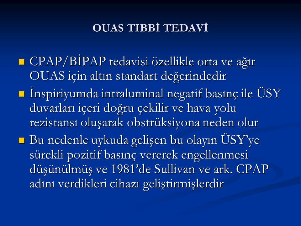 OUAS TIBBİ TEDAVİ CPAP/BİPAP tedavisi özellikle orta ve ağır OUAS için altın standart değerindedir.