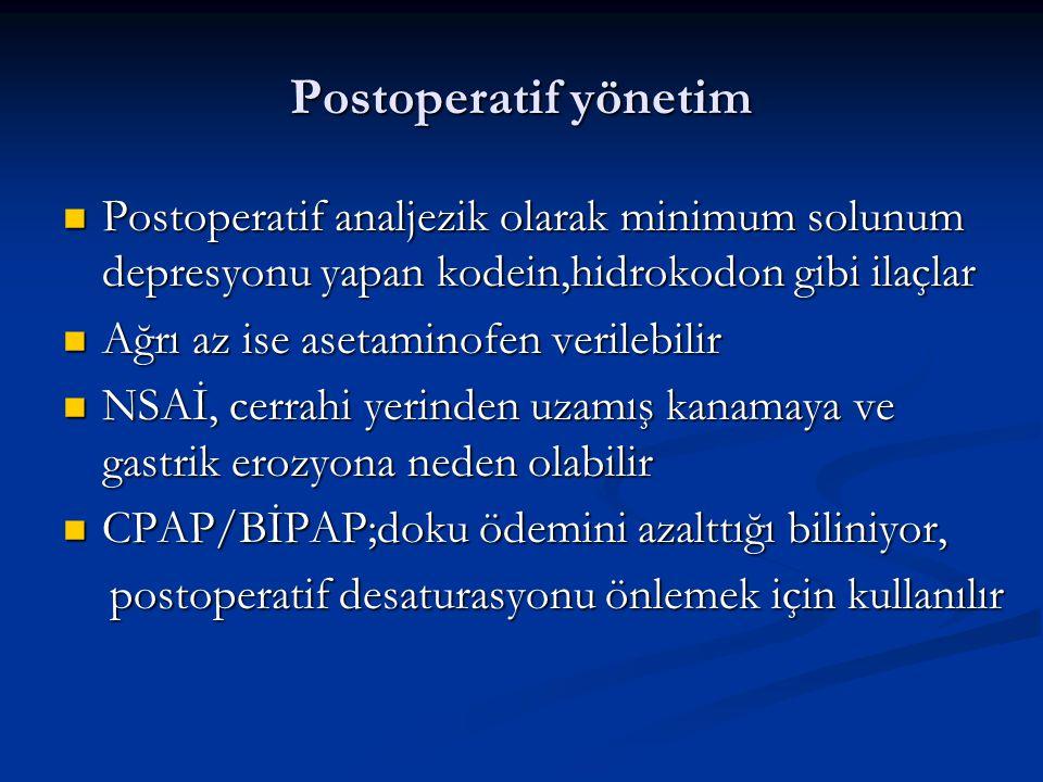 Postoperatif yönetim Postoperatif analjezik olarak minimum solunum depresyonu yapan kodein,hidrokodon gibi ilaçlar.