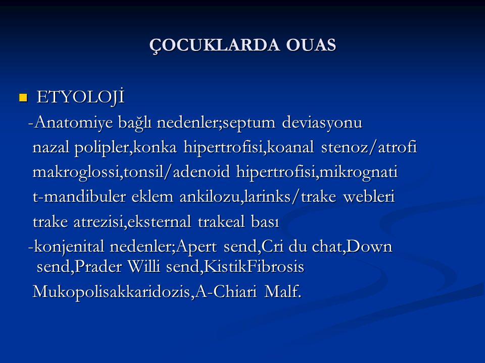 ÇOCUKLARDA OUAS ETYOLOJİ. -Anatomiye bağlı nedenler;septum deviasyonu. nazal polipler,konka hipertrofisi,koanal stenoz/atrofi.