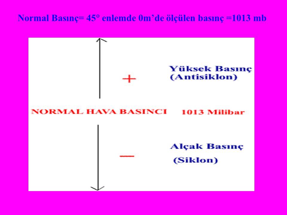 Normal Basınç= 45 enlemde 0m'de ölçülen basınç =1013 mb