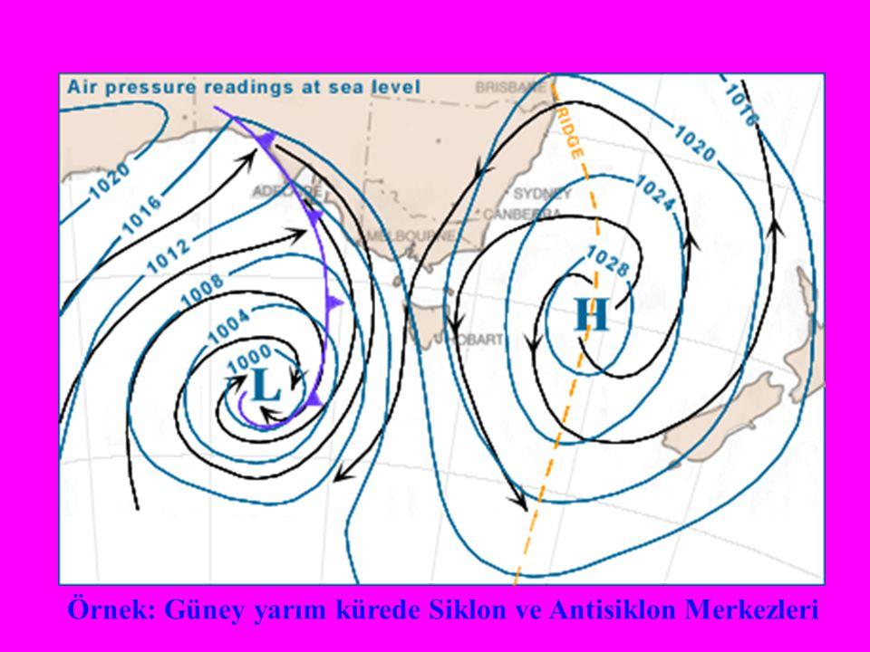 Örnek: Güney yarım kürede Siklon ve Antisiklon Merkezleri