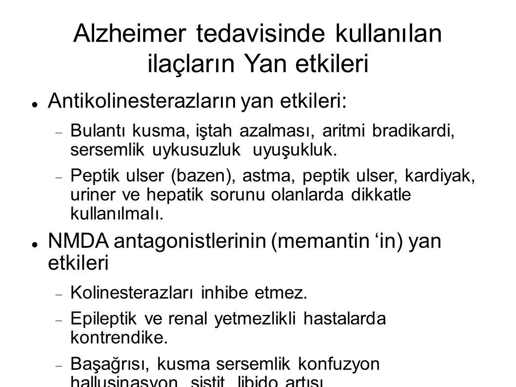 Alzheimer tedavisinde kullanılan ilaçların Yan etkileri
