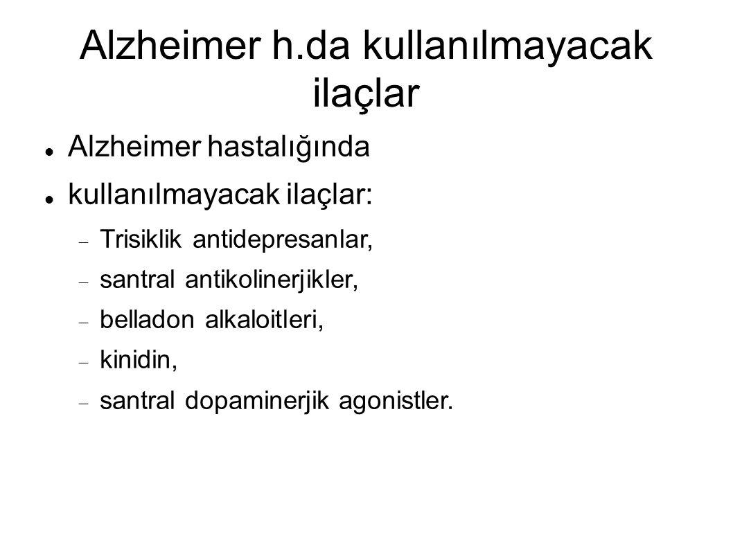 Alzheimer h.da kullanılmayacak ilaçlar