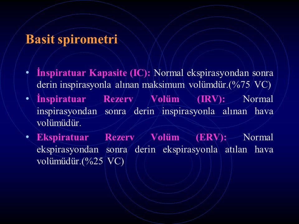Basit spirometri İnspiratuar Kapasite (IC): Normal ekspirasyondan sonra derin inspirasyonla alınan maksimum volümdür.(%75 VC)