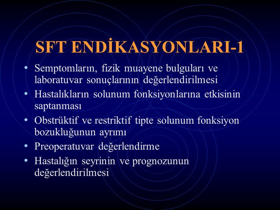 SFT ENDİKASYONLARI-1 Semptomların, fizik muayene bulguları ve laboratuvar sonuçlarının değerlendirilmesi.