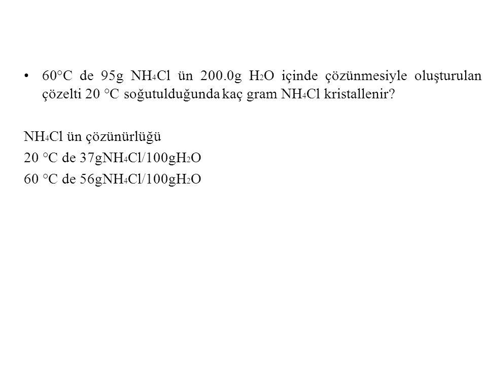 60°C de 95g NH4Cl ün 200.0g H2O içinde çözünmesiyle oluşturulan çözelti 20 °C soğutulduğunda kaç gram NH4Cl kristallenir