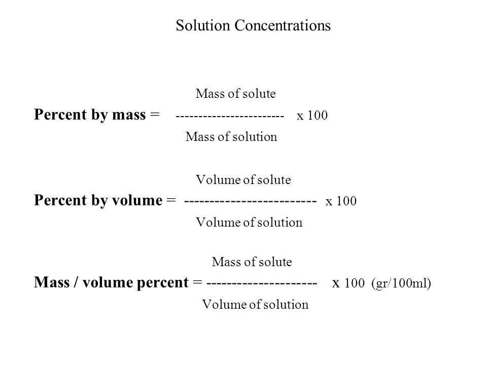Mass of solute Solution Concentrations