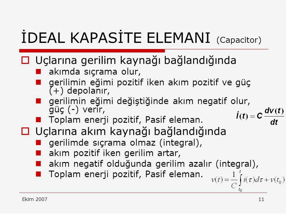 İDEAL KAPASİTE ELEMANI (Capacitor)