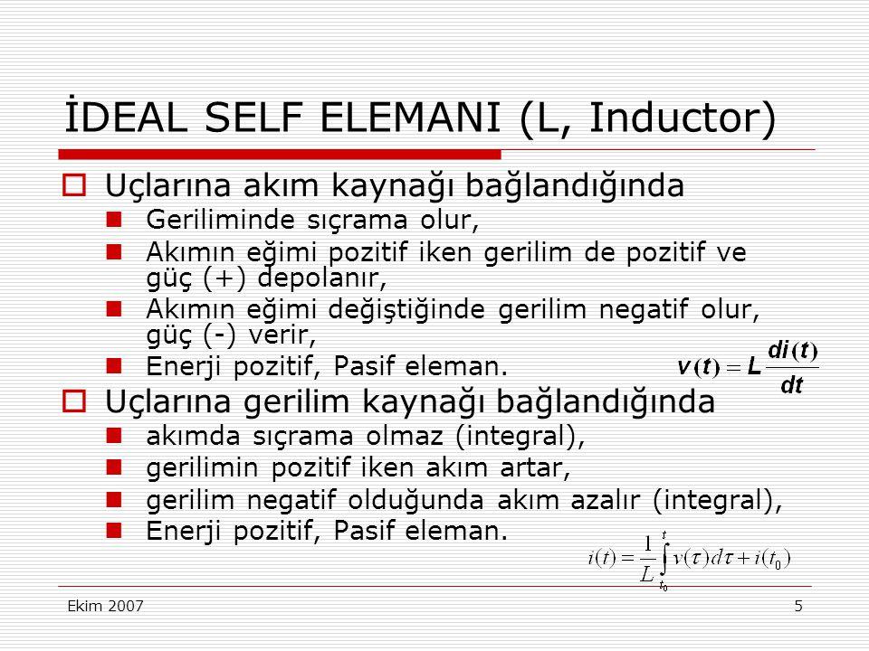 İDEAL SELF ELEMANI (L, Inductor)