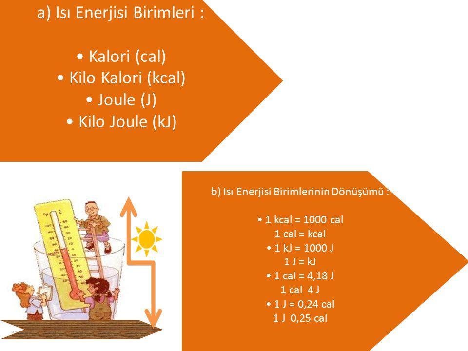 a) Isı Enerjisi Birimleri : • Kalori (cal) • Kilo Kalori (kcal) • Joule (J) • Kilo Joule (kJ)