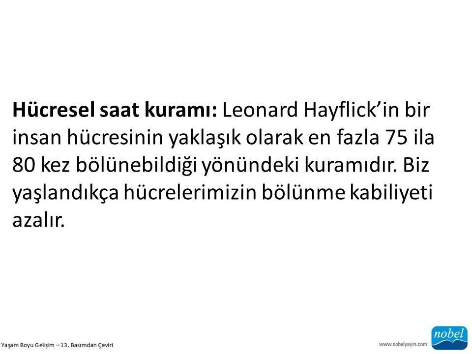 Hücresel saat kuramı: Leonard Hayflick'in bir insan hücresinin yaklaşık olarak en fazla 75 ila 80 kez bölünebildiği yönündeki kuramıdır.