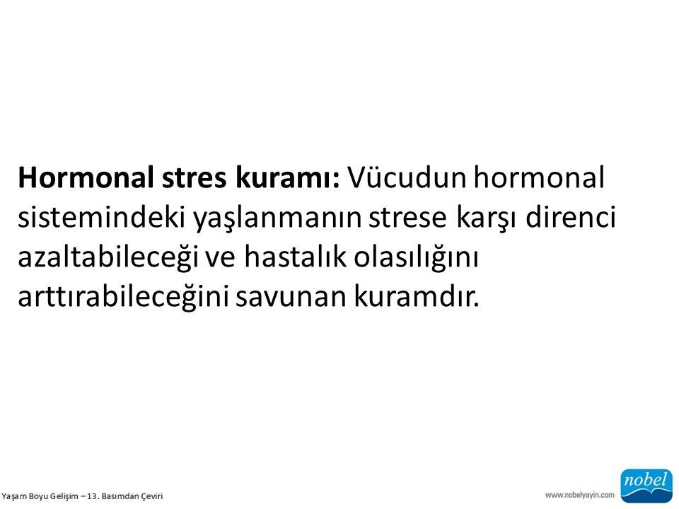 Hormonal stres kuramı: Vücudun hormonal sistemindeki yaşlanmanın strese karşı direnci azaltabileceği ve hastalık olasılığını arttırabileceğini savunan kuramdır.