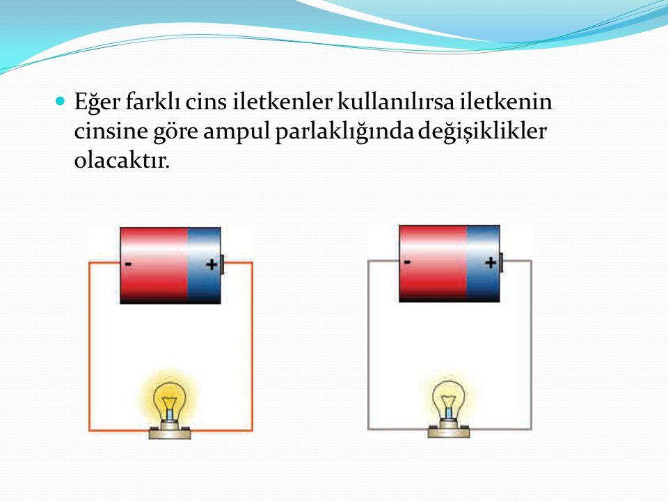 Eğer farklı cins iletkenler kullanılırsa iletkenin cinsine göre ampul parlaklığında değişiklikler olacaktır.